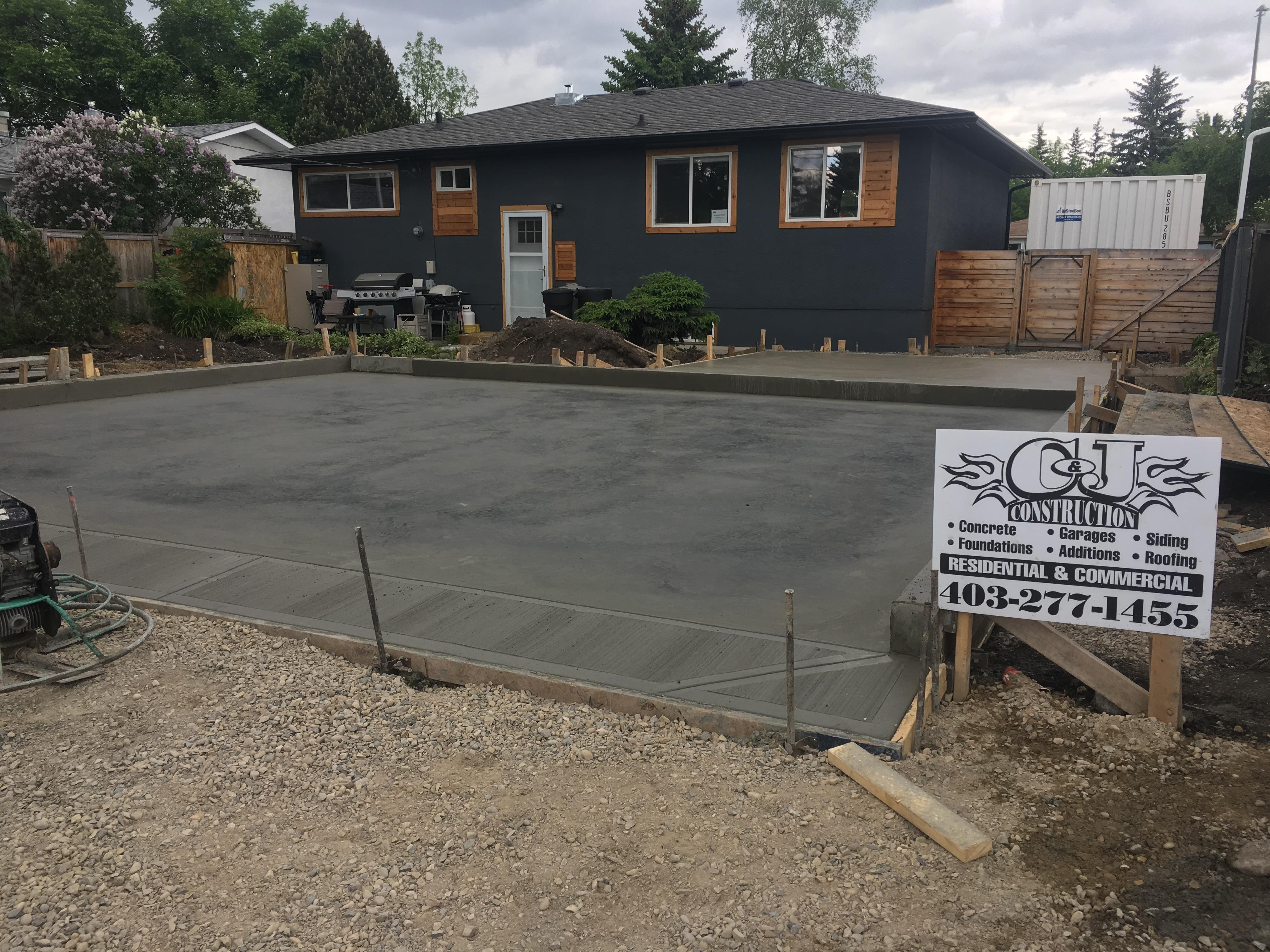 C and J Construction Garage Pad